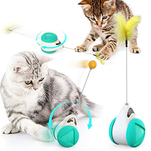 MEKOMONA Interactive Cat Toys for Indoor Cats with Ball and Feather, Cat Feather Toy Automatic Self-Moving Funny Toy for…