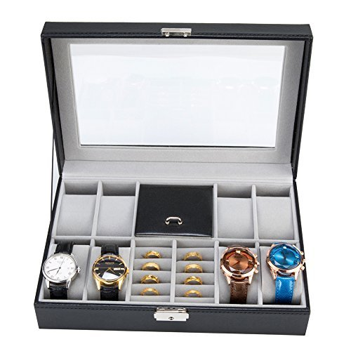 Harwoo Brand Eco-Friendly New Design 8Slot Black Leather Gift Watch Box Organizer Display Case With Lock For Women Men Teens Girls Boys Unisex Storage Earring Ring Necklace Jewelry With Glass Window