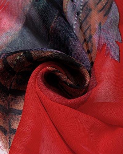 BIUBIU Women's Boho Chiffon Halter Summer Beach Party Cover up Dress Red L by BIUBIU (Image #3)
