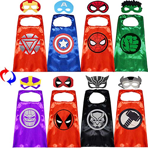 Superhero Capes with Masks Double Side Dress up Costumes Festival Christmas Halloween Cosplay Birthday Party Favors for Kids