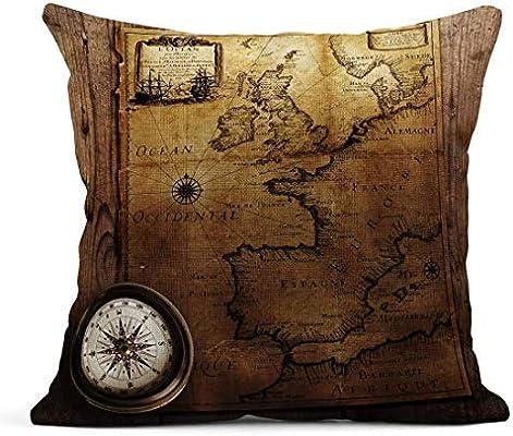 Cojín Old Compass en Vintage Map Francia España Inglaterra Portugal Holanda Dinamarca Autor Pierre Du Val 1618 1683 Cojín de Lino Almohada Decorativa para el hogar: Amazon.es: Jardín