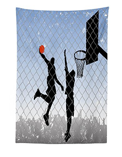 Lunarable Boy's Room Tapestry, Basketball in The Street Theme Two Players on Grungy Damaged Backdrop, Fabric Wall Hanging Decor for Bedroom Living Room Dorm, 30 W X 45 L inches, Pale Blue Grey Black