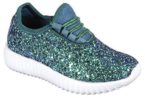 Lace Sneaker Casual Toe Green Cambridge Up Select Fashion Sport Encrusted Closed Women's Glitter q6gwYgOxP