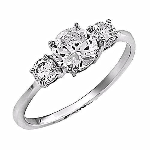 1000 Jewels Sitara: 1.7ct 3-Stone Russian Ice on Fire CZ Solitaire Engagement Band Ring 316 Steel, 3233B sz 5.0 ()