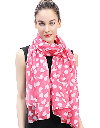 Lina & Lily Loving Hearts Print Large Scarf Valentine's Day Gift (Pink and White) (Ladies Scarf Hearts Valentine)