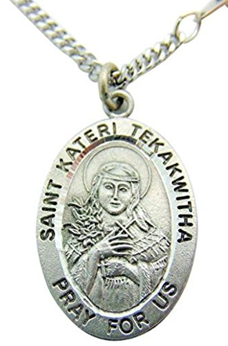 (Westman Works St Kateri Tekakwitha Pewter Saint Medal with Stainless Steel Chain Made in Italy )