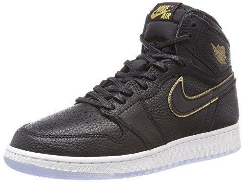 Jordan Nike Kids Air 1 Retro Hi OG BG Black/Metallic Gold Basketball Shoe 6 Kids US
