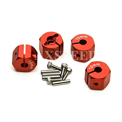12mm Red Wheel Hex Drive Adaptor Thickness 7mm With Pins Screws 1//10 RC Car