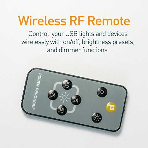Luminoodle USB Switch and Dimmer - Female to Male On Off Switch with Wireless Remote - Power Switch for DIY, TV Bias Lighting, LED String Lights, Fairy Lights by Power Practical (Image #2)