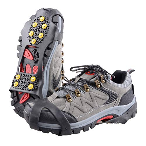 TRIWONDER Ice Grips 10 Teeth Anti-Slip Shoe/Boot Ice Traction Slip-on Snow Ice Spikes Crampons Cleats Stretch Footwear Traction (XL, Black) (Ice Traction Slip On)