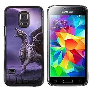 Be Good Phone Accessory // Dura Cáscara cubierta Protectora Caso Carcasa Funda de Protección para Samsung Galaxy S5 Mini, SM-G800, NOT S5 REGULAR! // Dragon Wings Purple Lightning W