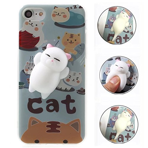 Case For Galaxy S8 Active, QKKE 3D Poke Squishy Cat Seal Panda Polar Bear Squeeze Stretch Compress Stress Reduce Relax Soft Silicone Relief Case for Samsung Galaxy S8 Active Cat ()