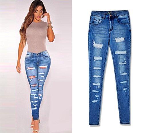 Tendenza Blue Sono Stretch Consumati Di Alta I Pantaloni Go Easy Vita Denim Shopping Slim A 8CwqFW6