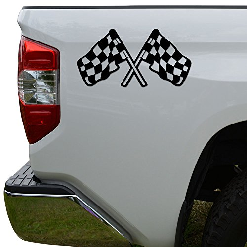 Sticker Racing Decal Flag Checkered (Rosie Decals Checkered Racing Flag Nascar Indy Die Cut Vinyl Decal Sticker For Car Truck Motorcycle Window Bumper Wall Decor Size- [6 inch/15 cm] Wide Color- Gloss Black)