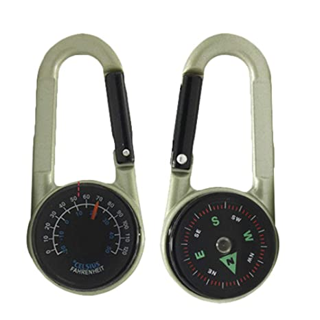 Multifunctional Carabiner Hook Compass Thermometer Keychain For Hiking Outdoor