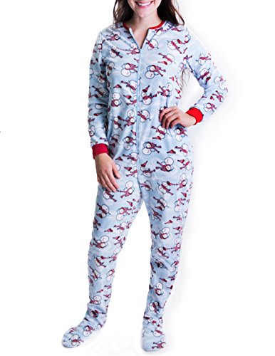 Caramel Cantina Juniors Women One Piece Zip PJS Footed Adult Onesie (Small, Snowman) Christmas Pajamas