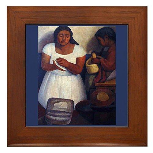 CafePress - Diego Rivera Art Framed Tile The Tortilla Maker - Framed Tile, Decorative Tile Wall Hanging