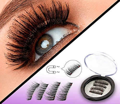 Dual Magnetic Full Size False Eyelashes Extension Set (4 pieces) - Handmade 3D Fake Magnetic Lashes for Natural Look - Reusable and Easy to Apply Ultra Thin Dual Magnet System