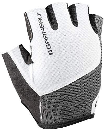 (Louis Garneau Men's Nimbus Evo Breathable, Padded, Half Finger Bike Gloves, White/Gray, Large)