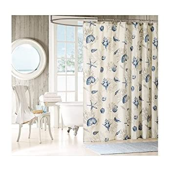 amazon com 1 piece girls white blue beach themed shower curtain
