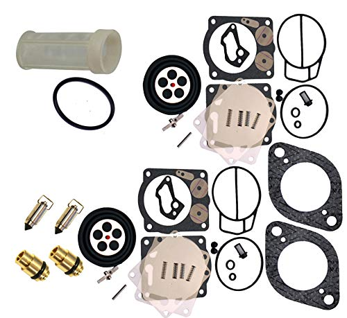 Carb Gasket Kit - Compatible With Sea-Doo Premium Venom Brand Twin Carb Rebuild Kit w/Needle, Seats & Gaskets (Fits 1998-2002 GSX GTX LRV RX RXX XP/LTD 947-951 NOW Includes Free Water Separator Fuel Filter & O-Ring