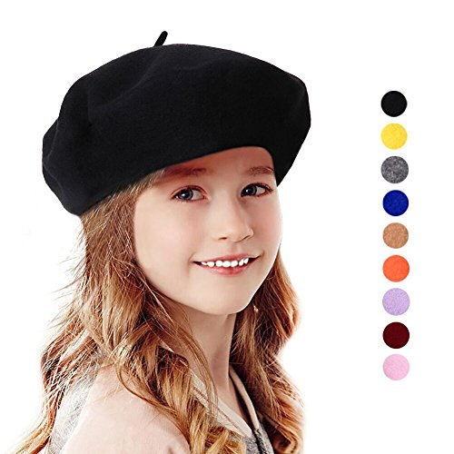 Bonaweite Kids Girls Warm French Beret Hat Solid Beanie Cap Winter Autumn Black