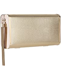 Women Sparkly Evening Clutch Purse Handbag in Hardcase with Metal Tassel for Party