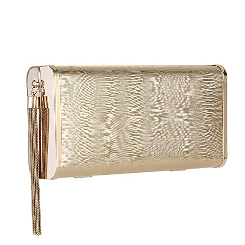 M10M15 Sparkly Gold Clutch Purse Handbag with Metal Tassel for Women, Crossbody Evening Bag in Hardcase with Strap Chain for Party by M10M15