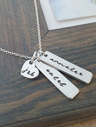 (Hand Stamped Jewelry // Personalized Necklace // Necklace with Kids Names and Parents Initials // Family)