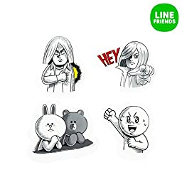 LINE FRIENDS Comics Themed Decal Sticker For Laptop Travel Luggage 20 Pcs Black_White