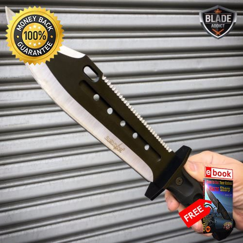 14'' TACTICAL SURVIVAL Rambo Full Tang FIXED BLADE KNIFE Hunting SHEATH NEW For Hunting Tactical Camping Cosplay + eBOOK by MOON KNIVES 14' Survival Knife