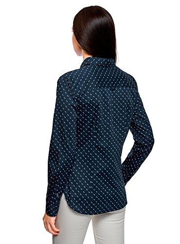 7940o Basique Chemise Bleu Femme oodji Ultra Coton en xPzwO