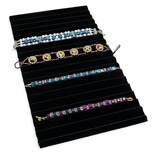 Black Velvet Ribbed Bracelet Pad Jewelry Display Tray -