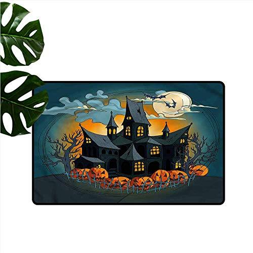 DUCKIL Non-Slip Door mat Halloween Medieval Haunted Castle Anti-Fading W30 -