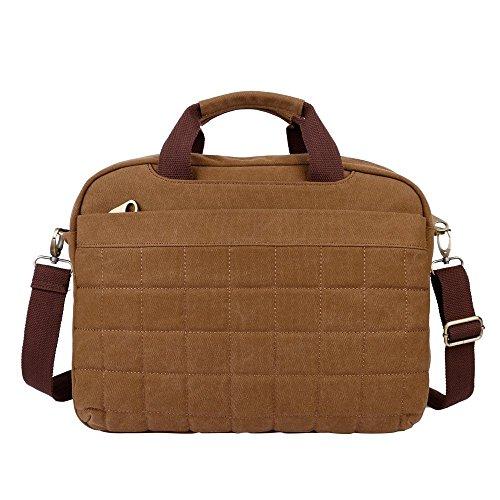 OXA Leinwand Business Bag Messenger Bag Umhängetasche Aktentasche Schulranzen Schultasche Purse Arbeitstasche Umhängetasche Tasche Computer-Tasche Laptop-Tasche passt die meisten 15-Zoll-Laptop Braun