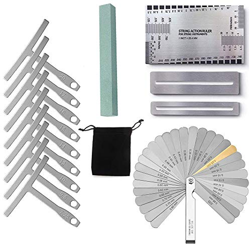 Activists Gauge Luthier Tools 9 Understring Radius Gauge Luthier Tools, 32 Blades Feeler Gauge Dual,1 String Action Gauge Ruler, 2 Fingerboard Guards and 1 Grinding Stone ()