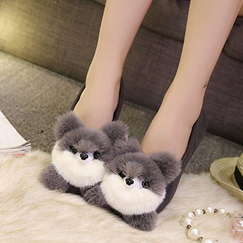 Y-Hui cotone d'inverno pantofole scarpe piatte Pattini di slittamento Piselli primavera,40 Codice Standard,grigio (Bear)
