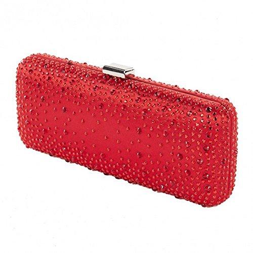 Borsa clutch, Edda rosso, in raso con borchie, dimensioni in cm: 21 L x 9 H x 4 P