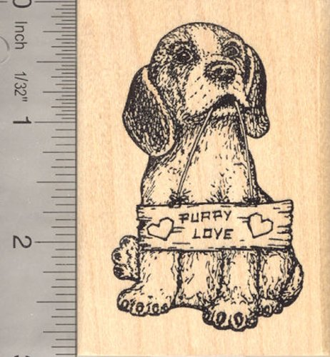 Valentine Beagle Dog Rubber Stamp, Puppy Love