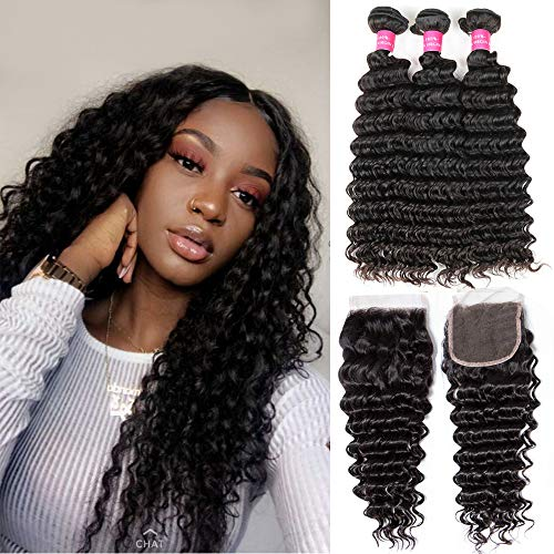 Human Hair Bundles With Free Part Closure Deep Wave Hair Bundles With Lace Closure(24 26 28+20 closure) 8A Brazilian Unprocessed Virgin Human Hair Extensions Double Weft Natural Color Laritaiya