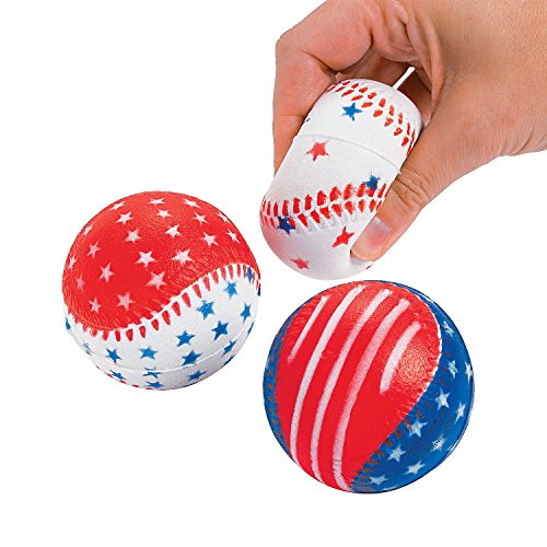 Fun Express - Patriotic Baseball Stress Balls for Fourth of July - Toys - Balls - Relaxables - Fourth of July - 12 - Patriotic Ball Stress