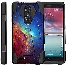 TurtleArmor | ZTE ZMax Pro Case | ZTE Blade X Max Case | ZTE Carry [Dynamic Shell] Hybrid Dual Layer Hard Shell Kickstand Silicone Case - Colorful Nebula Galaxy