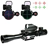 Higoo 3-9X40 Tactical Rifle Scope Tri-Picatinny Rail Green/Red 5 Level Illumination Mil-dot Riflescope with Holographic 4 Reticle Reflex Sight & Red Laser