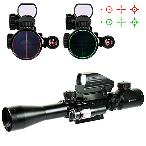 Higoo 3-9X40 Tactical Rifle Scope Tri-Picatinny Rail Green/Red 5 Level Illumination Mil-dot Riflescope with Holographic 4 Reticle Reflex Sight & Red Laser (Scope Tri Rail Tactical)
