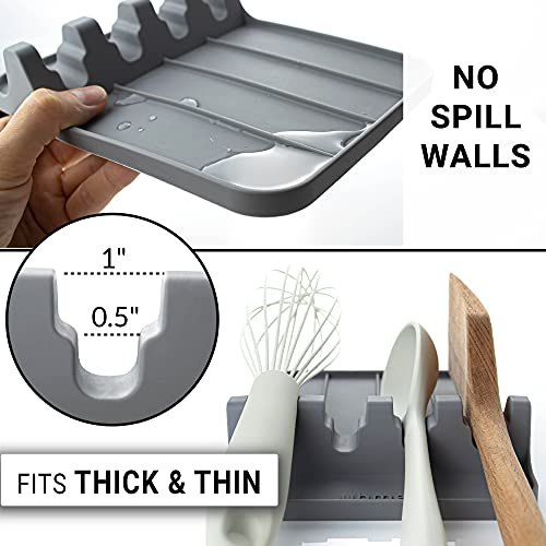 UHMER Silicone Spoon Rest for Kitchen –8x6 inch Spoon Rest for Stove Top, Silicone Utensil Rest for Countertop, Grill Utensil Holder, BPA-Free (Dark Grey)