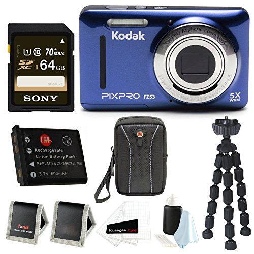 Kodak PIXPRO Friendly Zoom FZ53 (Blue) + Sony 64GB SDHC w/Wallet, SwissGear Case,Spare Battery, Spider Tripod