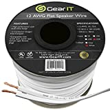 GearIT Elite Series 12AWG Flat Speaker Wire (250 Feet / 76 Meters) - Oxygen Free Copper (OFC) CL2 Rated In-Wall Installation for Home Theater, Car Audio, and Outdoor Use, White