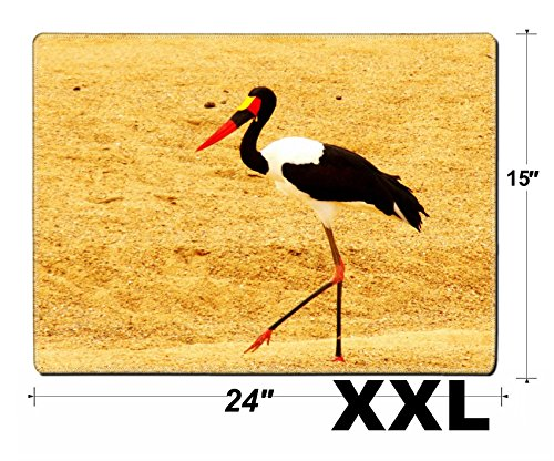 Billed Saddle Stork - MSD Extra Large Mouse Pad XXL Extended Non-Slip Rubber Large Gaming Desk Mat Image 22381432 Saddle Billed Stork