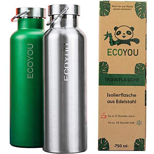 EcoYou® Trinkflasche Edelstahl 750 ml Grün oder Silber doppelwandig für Heiß- und Kaltgetränke, Wasserflasche Isolierflasche Thermoflasche, Sport – und Outdoor Flasche