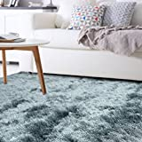 iCustomRug Shiny Soft Shag Rug 7ft10in x 10ft0in (8' x 10') In Teal Blue